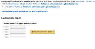 Campo per la recensione su Amazon